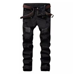 $enCountryForm.capitalKeyWord Canada - Fashion Designer Mens Ripped Biker Jeans Leather Patchwork Slim Fit Black Moto Denim Joggers For Male Distressed Jeans Pants