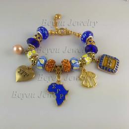 Vintage tin jewelry box online shopping - Newest Sigma Gamma Rho Sorority Bracelet SGR Women Men Charm Bead Bangle Vintage Bracelets Jewelry