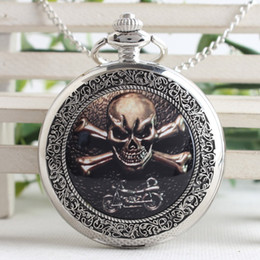2018 skulls accessories Skull Pendant Red Dragon Skull Charm Pocket Watch Biker Jewelry Accessory Relogio De Bolso 3SY62 skulls accessories on sale