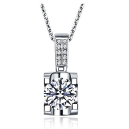Discount t necklace - 1Ct T-Brand Silver Pendant Round Cut Synthetic Diamonds Pendant Sweater 925 Sterling Silver Pendant Necklace White Gold