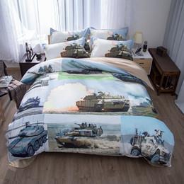 Boys Queen Beds NZ - Tank Airplane Ship Gun Decorations Men Bedding Set Twin Queen King Size Duvet Cover Bed Sheets Pillowcase for Teen Boys