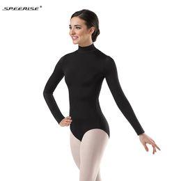 ad53937b9e Women Long Sleeve Black Leotard Turtleneck Ballet Dancewear Lycra Spandex Leotards  Bodysuit Gymnastics Costumes Unitard