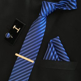 branded tie clip NZ - men 8cm fashion brand luxury necktie pocket square wedding tie clips set cufflinks handkerchief