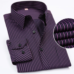 long sleeve collar work dress 2019 - New Plus size XXXL 4XL 5XL 6XL Long Sleeve Popular Style Mature Business Work Men Shirts Middle-aged Striped Men Dress S
