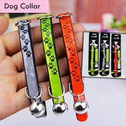 Necklace straps online shopping - Puppy Pet Dog Print Collar Cat Neck Strap Necklace with PU Material and Soft Cotton Paw Patten Collar with Bell for Pet Dogs AAA513