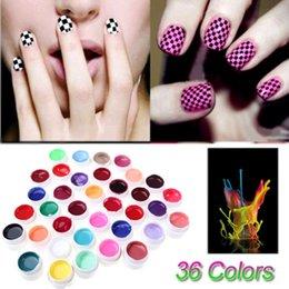 Ingrosso Anself Beauty 36 Colori Set di pigmenti per nail art Smalto gel UV Colla solida Vernice a lunga durata Vernice gel colorato