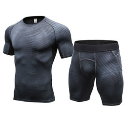 men tight suits UK - Quick Dry Fitness Tight Jogger Running Set Male Badminton Soccer Gym Training Tracksuit Men Basketball Sport Suits T-shirt Leggings Shorts