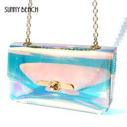 $enCountryForm.capitalKeyWord Canada - SUNNY BEACH Transparent Hologram laser Bag Women Hand Clutches Wallet Cute Kawaii Bag Clear Small Chain Mini Messenger Handbag