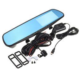 mirror monitor reverse camera 2019 - wholesale 4'' 1080P HD Dual Lens Durable Car DVR Camera Monitor Dash Cam Recorder Reverse Mirror 500W Pixels Blu