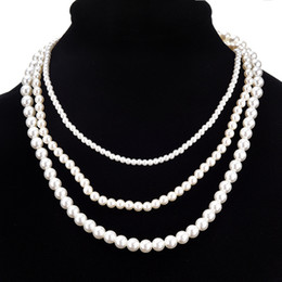 $enCountryForm.capitalKeyWord Canada - Imitation Pearl Necklaces Three layers Chokers Necklace For Women Girl Jewlery Free Shipping