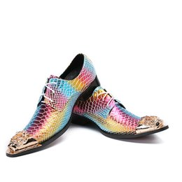 Shoes Metal Print NZ - Snakeskin Print Mens Leather Dress Shoes Rainbow Color Metal Toe Oxfords Derby Shoes Spring Summer Wedding Shoes Men