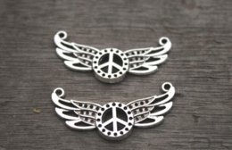 TibeTan silver angel wing charms online shopping - 15pcs Angel wings peace charms Antique Tibetan silver Peace with Wings Charm Pendants necklace pendants x38mm