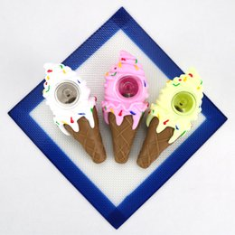 $enCountryForm.capitalKeyWord Australia - A906 newest sweet ice cream pipe cone silicone smoking hand pipes with glass thick bowl oil burner,with low price