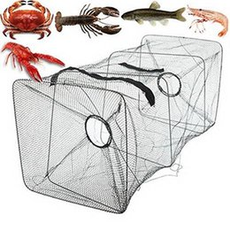 Minnow bait cage online shopping - Nylon and Alloy Dark Green Fishing Bait Trap Fish Net Cast Dip Cage Crab Minnow Crawdad Shrimp Foldable