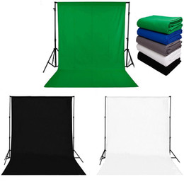 Discount photo background muslin - Solid Black White Green Screen Chromakey Backdrop Cotton Photo Studio Backgrounds Muslin Backdrops for Photography 10x20