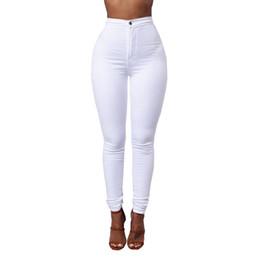 Venta al por mayor de Color caramelo Jeans pitillo Mujer Blanco Negro Pantalones vaqueros de cintura alta Render Pantalones largos Vintage Pantalones lápiz Denim Stretch Feminino