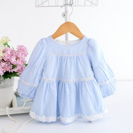 Wholesale Baby Dress Brand Children Clothes Pink Infant Baby Girls Floral Dresses Lace Trim Long Sleeve Cotton Clothing Girls Outfits A014