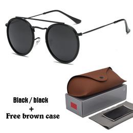 Steampunk men online shopping - New Arrial Steampunk sunglasses women men metal frame double Bridge uv400 lense Retro Vintage sun glasses Goggle colors with box