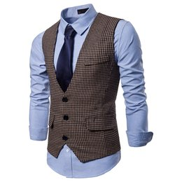 China New Arrival Mens Vests Striped Slim Fit Waistcoat Sleeveless Jacket Mens Double Breasted Vest Suit British Vintage Blazer S-XXL cheap new style mens cotton jackets suppliers