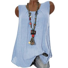 f98432f24e8e49 Womens Tops And Blouses Sleeveless Loose Solid Color Tee Shirt Femme Casual  O-Neck Baggy Tank Top Plus Size 3XL Female Vest