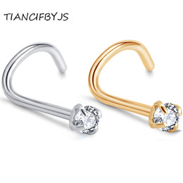 $enCountryForm.capitalKeyWord UK - TIANCIFBYJS Tragus Piercing Zircon Screw Nose Stud Body Jewelry Wholesales Nose Ring Eyebrow Bar Helix Cartilage Earring Stud