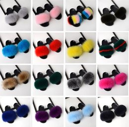 Home plusH slippers online shopping - New Fashion Real Fox Hair Casual Fashion Slipper Women Summer Flip Fray Grass Wear Home Beach Fur Sandals Europe Station