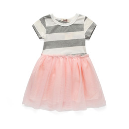 China cute girl striped dress soft lace princess dresses for 2-8years girls kids children Summer lady style dress clothes suppliers