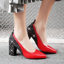 $enCountryForm.capitalKeyWord Canada - 2018 spring and Autumn New Women's high-heeled shoes sexy sequins banquet dress shoes big code 31-48