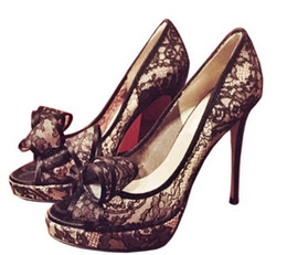 2017 summer new fish-mouth shoes single shoes high heels round head thin  heel bow tie lace set foot platform 346d47d2b7d0