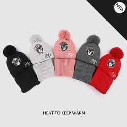 baby cap knitting design 2019 - Unisex Child Bear Beanies Cap Baby Bear Printed Design Knit Hats Kids Winter Warm Hat Scarf Set discount baby cap knitti
