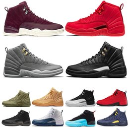 rubber games 2019 - New Mens 12s basketball shoe Gym Red Michigan Flu Game Bordeaux College navy Bulls The Master taxi 12 sports sneaker tra