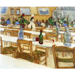 painting vincent van gogh UK - Best oil paintings Interior of a Restaurant Vincent Van Gogh Hand painted Landscapes painting for room decor
