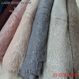 grey cotton lace scarves NZ - 2017 Ladies Lace edges Free Shipping beautiful hijabs Scarves Women Plain solid Cotton viscose Head Scarf oversize muffler shawl D18102406