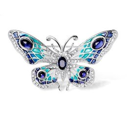 gems for clothes 2019 - Fashionable Gem Butterfly Brooch Sweater Chain Dual-use Clothes Accessories Gift for Women YP3373 discount gems for clot