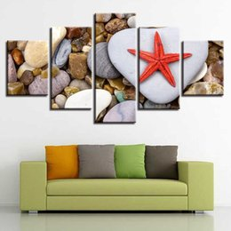 Art Canvas Prints Australia - Home Decor Living Room Wall Art Painting 5 Pieces Starfish And Stone Modular Canvas HD Prints Modern Pictures Artworks Framework