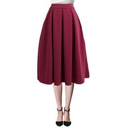 8ddc490cfe 2019 Summer Fashion Midi Skirt Women High Waist Pleated Skirt Side Zipper  Flared SkirtS With Pocket Black Red Saias Das Mulheres