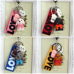 $enCountryForm.capitalKeyWord NZ - 4 Color Cute Pet Dogs Keychains Coffee Wind Pendant Charms Key Chain Creative Animal Keyring Sports Key Covers Gifts D518L