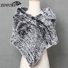 Wholesale ZDFURS Real Knitted Rex Rabbit Fur Cape Triangle fur shawl Stole Wrap rabbit fur Poncho Scarf Neck Warmer