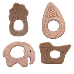 Chinese  Natural Wooden Teether Pineapple Bamboo shoots Cat Elephant pendant Beech Wood Grasping Stroller Toy Organic Gift for Newborn Baby Teether manufacturers