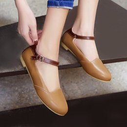 Chinese casual style comfortable round head flat with color matching belt  buckle black brown apricot women s shoes big size 864877567ea1