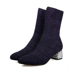 2400189770 2018 New Fall Winter Sexy Stretch Fabric Small Pointed Short Sock Boots  With Low Diamand for Woman Crystal Heel