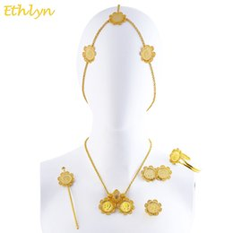 Coins Sets Australia - Ethlyn Big Coins Ethiopian Eritrean Hair Traditional Jewelry Accessories Yellow Gold Color Classic Bridal Wedding Sets S0100