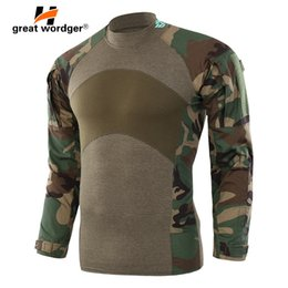 Discount camouflage paintball - Men Army Tactical T shirt SWAT Soldiers Combat T-Shirt Long Sleeve Camouflage Hiking Shirts Paintball T Shirts