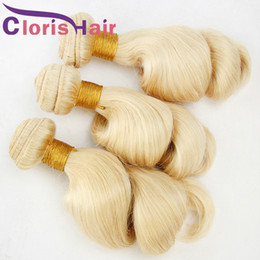 Chinese  #613 Blonde Human Hair Bundles Loose Wave Raw Indian Hair Weave Cheap Curly Loose Wavy Sew In Hair Extensions Platinum Blonde Indian Bundles manufacturers