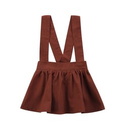 Chinese  2018 Kids Baby Girls Suspender Skirt Tutu Dresses Brown Overalls Skirts With Shoulder-straps Kid Girl Party Dress Kid Clothing 6M-3Y manufacturers