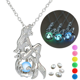 essential oil balls 2020 - Pear cage Mermaid necklace pendant accessories essential oils diffuser locket for night glowing Ball oyster pearl women