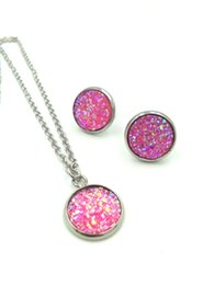 AnniversAry dresses online shopping - 12Colors Women druzy drusy Rhinestone Pendant Statement Necklace Earrings Jewelry Set Fashion Jewelry Bridal Wedding Dress Jewelry Sets