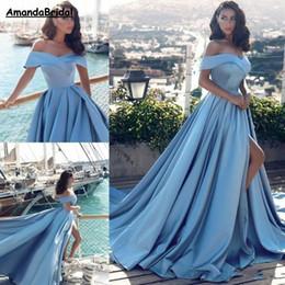 Amandabridal Modern Arapça Açık Mavi Örgün Gelinlik Modelleri 2019 Afrika Zarif Kapalı Omuzlar Ön Bölünmüş Popüler Akşam Balo Abiye