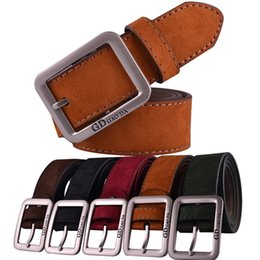 men red belt NZ - 2016 3.8cm men Suede brown coffee GREEN RED color fashion jeans Leather dress Belts
