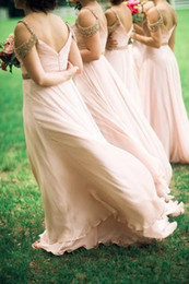 $enCountryForm.capitalKeyWord Australia - 2019 Long Chiffon Cheap Blush Bridesmaid Dresses for Wedding Long straps A-Line Backless Formal gowns Party Beads Maid Of Honor Dresses